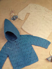 Baby Knitting Pattern HOODED Jacket and Cardigan in 4 & 8 Ply