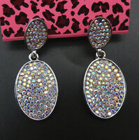 Betsey Johnson AB Crystal Rhinestone Oval Stud Drop Earrings