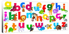 Children's Large Jungle Animal Alphabet ABC - Canvas Art Picture Print Nursery
