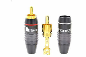 10 High Quality Nakamichi RCA Plug Solder Gold Audio Adapter Connector N0556 USA