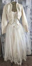 VTG 1940s 3 Piece Wedding Bridal Gown Dress Bolero Jacket Ivory Tulle Satin XXS