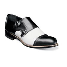 Stacy Adams Mens Shoes Madison Cap Toe Double Monk Strap Black White 00088-111
