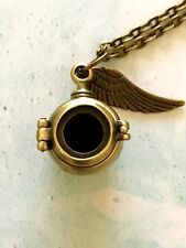 Steampunk Poison Locket Feather Necklace, Mourning Locket, Keepsafe Locket