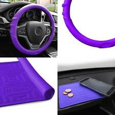 Silicone Steering wheel cover Grip Marks w/ Purple Dash Mat Purple for Auto