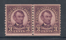 US Sc 600 MNH. 1924 3c violet Lincoln horizontal Coil Pair, F-VF