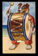Sussex EASTBOURNE Dog Drum Novelty Pocket  used 1918 PPC