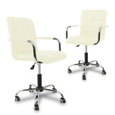 PU Leather High Back Office Chair Adjustable Swivel Computer Desk Armchair Cream