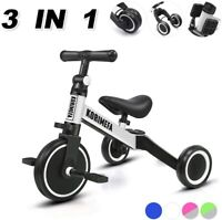 3 in 1 Kids Trike Tricycle Baby Balance Bike Toddlers w/ Removable Pedals White