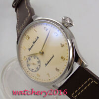 44mm PARNIS Beige dial Leather 17 jewels 6497 Handaufzug movement Uhr mens Watch
