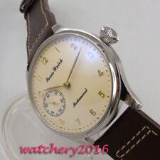 44mm PARNIS Beige dial Leather 17 jewels 6497 Handaufzug movement Uhr mens Watch
