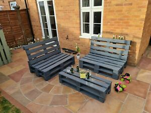 Outdoor Garden Patio Pallet Chairs/Bench Table Furniture Grey 3 pcs Set