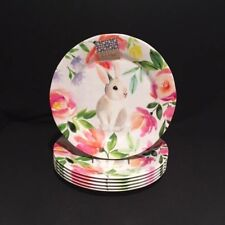 Nicole Miller Melamine Easter Bunny Floral S/6 Dinner Plates Free Priority Ship & Nicole Miller Dinnerware Plates | eBay