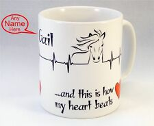 Personalised HORSE Mug Cup Birthday Gift Idea Present Gift Equestrian Pony heart
