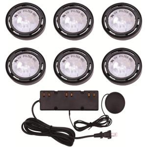 Kitchen Under Cabinet Display Light Lighting 6 Xenon Puck Lights Cord Kit 120V