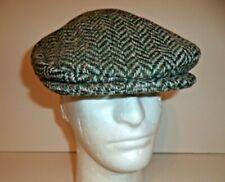Irish Hanna Hat green herringbone Donegal tweed flat cap Ireland vintage style
