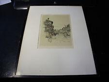 """MARJORIE C. BATES Hand Coloured PRINT Framed """"TUDOR HOUSES"""" Stratford-on-Avon"""