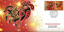 Gibraltar 2017 FDC Year of Rooster 2v Se-tenant Cover Chinese New Year Stamps