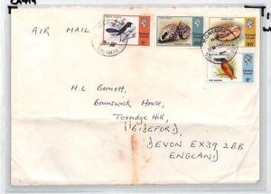 SOLOMON ISLANDS Cover Honiara Air Mail GB Devon BIRDS SEASHELLS 1979 CA419