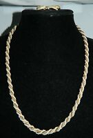 VTG CROWN TRIFARI Gold Tone Chain Wrapped with Faux Pearls Necklace & Earrings