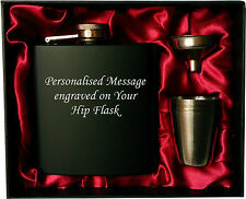 Engraved Steel HIP FLASK black 6oz in gift box with funnel & 4 shots (red liner)