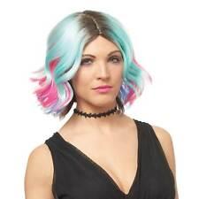Women's Lollipop Adult Costume Wig Multi Colored Blue Pink Short Wavy Pixie Cut