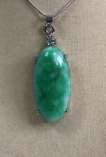 Large green jade oval shape pendant ( without chain)