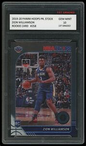 ZION WILLIAMSON 2019-20 PANINI HOOPS PREMIUM STOCK 1ST GRADED 10 ROOKIE CARD RC