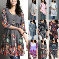 Women Cotton Summer Gypsy Baggy Tunic Top Shirts Long Sleeve Blouse Plus Size