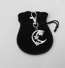 Crescent Moon and Stars with Diamantes, Key ring,Charm in black velvet pouch
