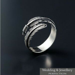 100% 925 Sterling Silver Feather Ring Band Open Finger Fully Adjustable Jewelry