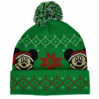 New Disney Mickey Mouse Christmas Fair Isle Pom Cuffed Cap Hat Beanie