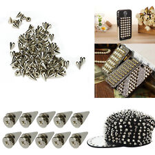 100x10 mm Silver Spots Cone Screw Metal Studs Leather craft Rivet Bullet Spikes