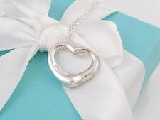 New Tiffany & Co. Medium Open Heart Sterling Silver Pendant Necklace Box