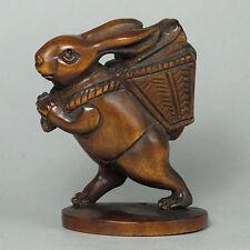 Boxwood Wood Netsuke Cartoon Rabbit Figurine Carving WN346