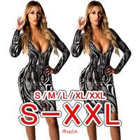 ❤Women Snakeskin Print Deep V Neck Long Sleeve Bodycon NightClub Cocktail Dress❤