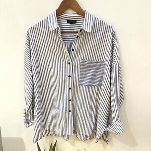 Topshop Oversized Striped Shirt Size 14