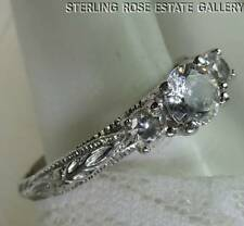 CUBIC ZIRCONIA Three Stone STERLING SILVER 0.925 ESTATE Engagement RING size 10