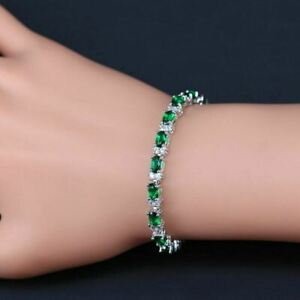 Green Emerald 925 Sterling Silver Bracelet White Topaz Link Chain 7 Inch women
