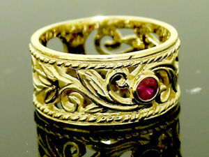 R067 Genuine 9K Heavy Solid Gold Filigree NATURAL Ruby Wide Band Ring in yr size