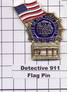 Police Detective's 911 Memorial Lapel Pin with American Flag