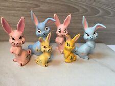 Vintage Ceramic Pastel Bunny Rabbit Figurines Set of 6 Bunnies Lot Kitschy