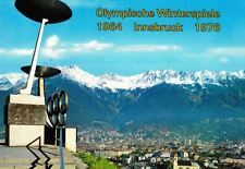 Austria Postcard Innsbruck Winter Olympics Village w/ Torches & Rings 1970s