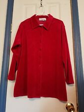 Norm Thompson large women's Red Holiday velour top Button Down Long Sleeve