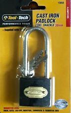Tool-Tech Cast Iron Padlock Long Shackle 38mm: Sheds, Gates, Garage, Lock-Ups
