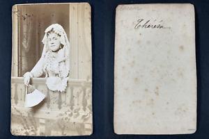 Thérésa, actrice Vintage cdv albumen print. CDV, tirage albuminé, 6 x 10.5 c