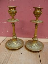 PAIR of ANTIQUE EDWARDIAN GOTHIC DESIGN BRASS CANDLESTICKS SMALL but HEAVY-DUTY