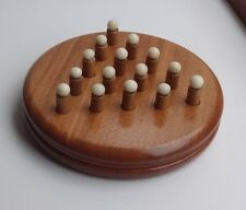 Unique Solitaire game hand wood-turned, Sapele base, 15 pieces Iroko & Tagua Nut