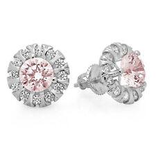 3.45 Round Cut Halo Pink Simulated Diamond Designer Stud Earrings 14k White Gold