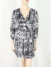 Parker Catalina Faux Wrap Print Dress Gazette Black White V-Neck XS $297 9361