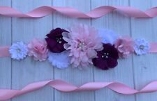 Pink White Burgundy Maternity Sash Belt /Baby Shower Vintage Belt